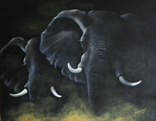 painting of elephants by artist Diarmid Doody
